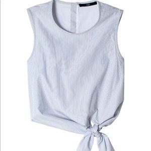 Tibi Striped Tie Crop Top